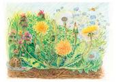 Baglady Design Card: Dandelions