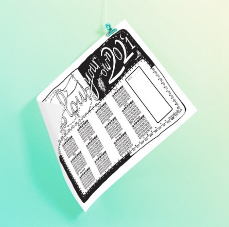 Sale Price: A2 Colour Your Own 2021 - Wall Calendar
