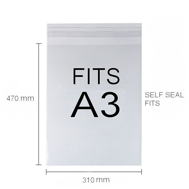 PP Clear Display Bags - A3 - 310mmx470mm peel&seal